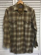 Vintage 1960's Pendleton Virgin Shadow Plaid Shirt Made In USA 15 Men's Medium
