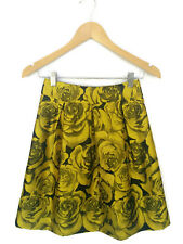 REVIEW Skirt - Vintage Style Yellow Gold/Black Satin Floral Roses Brocade - 6/XS