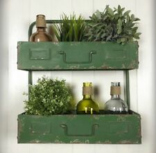 Industrial Style Green Wall Metal Wood Shelves Storage Cabinet Unit