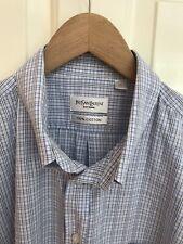 Yves Saint Laurent Pour Homme YSL Short Sleeve Shirt 100% cotton XXL 2XL blue