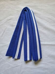 New Size 4 Taekwondo Belt Karate Judo Martial Arts BLUE w/ WHITE Stripe