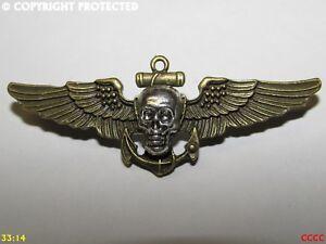 steampunk brooch badge pin skull wings pirate ship's anchor black sails