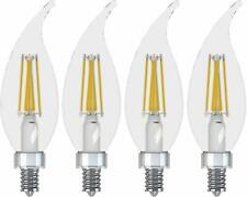 4 PK. GE LED Chandelier Light Bulb Dimmable Soft White 300 Lumen 3.5 Watt Clear
