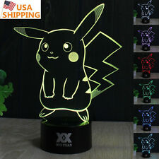 Pokemon GO Pikachu 3D Acrylic LED Night Light 7Color Touch Desk Table Lamp Gift