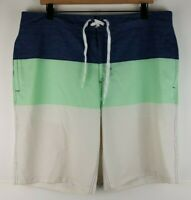 Goodfellow & Co Mens 3 Panel Striped Boardshorts Sz 38 Polyester Blend EUC