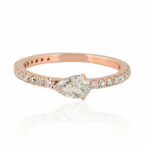 0.66 Ct SI Clarity HI Color Pear & Round Shape Diamond Band Ring 18k Yellow Gold