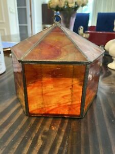 VIntage Octagon Trinket Dish Wavy Glass lidded box orange swirl Stunning Stained