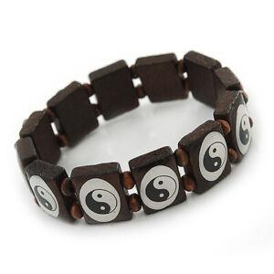 Yin Yang Stretch Wooden Bracelet/ Brown - Adjustable
