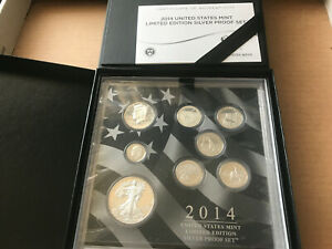 2014 US Mint Limited Edition SILVER PROOF Set 8 Coins Eagle Kennedy Quarter Dime