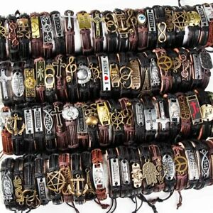 20pcs Mixed Styles Vintage mens Alloy leather Cuff Bracelets Jewelry Wholesale