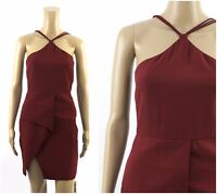 VLabel London Maroon Asymmetric Races Party Prom Formal Cocktail Occasion Dress
