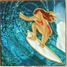 Surfer Girl Night Light Wall Plug In Stained Art Glass Wave Beach Coastal Gift