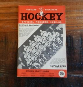 1962-63 PORTLAND BUCKAROOS VS SAN FRANCISCO SEALS WHA HOCKEY PLAYOFF PROGRAM