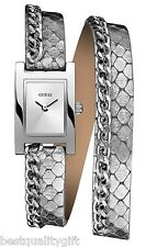 GUESS METALLIC SILVER PYTHON LEATHER WRAP AROUND,DOUBLE BAND+CHAIN WATCH W0154L2