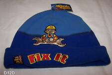 Bob The Builder Boys Fix It Blue Embroidered Fleece Beanie Size 53cm New
