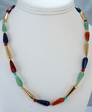 Egyptian Style Necklace of Carnelian, Lapis, Aventurine & Gold-Plated Beads 18""