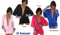 vestito donna sexy mini abito scollatura profondissima 4 colori  tg u cod.555