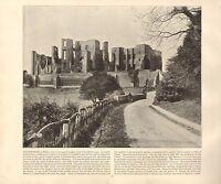 1894 Vittoriano Stampa ~Kenilworth Castle~ Warwickshire Forti ( Testo