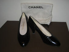 CHANEL BLACK CROC PUMP HEEL SHOE 5