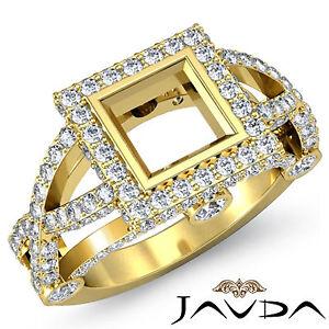 Pave Diamond Engagement Designer Ring Princess Semi Mount 1.4Ct 14k Yellow Gold