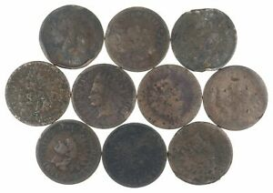 Lot of 10 1800's 1880-1889 Indian Head Penny Cents - US Coin Collection *369