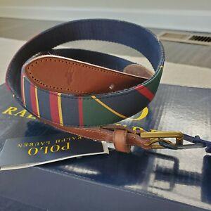 Polo Ralph Lauren Mens Fashion Belt Blue Brown Striped Adjustable Buckle 36 New