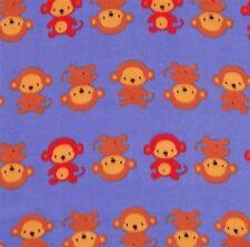 Monkey Business Monkeys in Rows Purple Half Yard Fleece Fabric