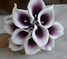 40 Picasso Plum Purple Calla Lilies Real Touch Flowers for Silk Bridal Bouquets
