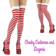 Red and White Striped Hold Ups Stockings Santa Elf Size 8-14