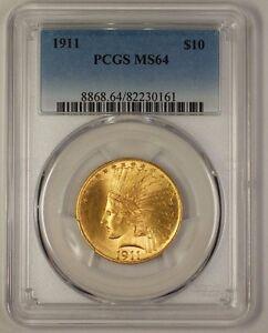 1911 US Indian $10 Gold Eagle Coin PCGS MS-64 (Gem) (JS)
