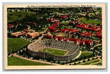 Vintage 1940's Postcard Aerial Louisiana State University Stadium Baton Rouge LA