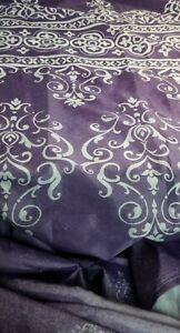 Mainstays Luxurious Damask Print Purple Ombre Shower Curtain with Hooks
