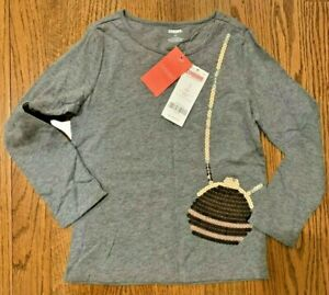 Gymboree Girl's Gray Sequin Purse Long Sleeve Top-Size 4-NWT