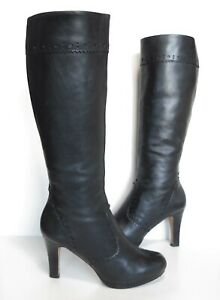 Ladies CLARKS Softwear Black leather knee Very high-heeled boots Size UK 5.5 D