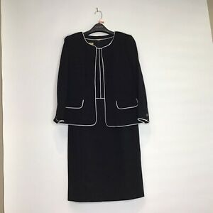 Talbots Italian Luxe Knit Black with White Piping Dress Suit 12 NWT