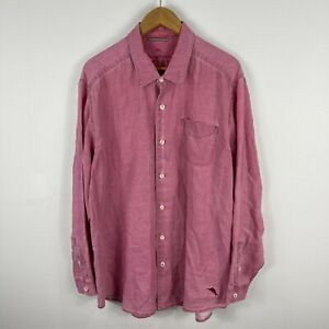 Tommy Bahama Mens Linen Button Up Shirt XL Pink Long Sleeve Collared