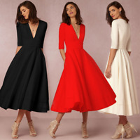 Women's V Neck Sexy Maxi Dress Long Sleeve Party Elegant Plus Size Formal Dress