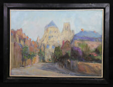 Huile sur toile impressionniste signée et indication à droite Paysage France