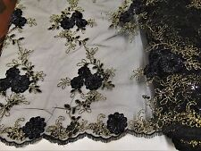 Black Gold Floral Ribbon Embroidery Metallic Sequin Lace Fabric on Mesh Dress