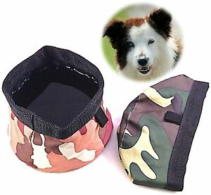 *NEW* Premium Collapsible Pet Bowls - Set of 2 - Canvas, Waterproof Nylon - Camo