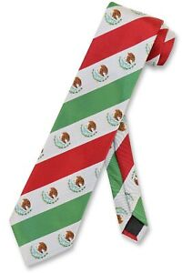 Mexican Flag Mens Neck Tie White Green Red Stripes NeckTie