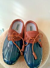 Sperry Top-Sider Women's Blue Waterproof Slip-On/Lace-Up Duck Rubber Boot 10 US