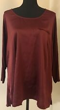Lane Bryant Charmeuse Front Knit Top Size 18-20W Dark Red