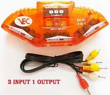 3 Way Audio Video AV RCA Switch Switcher Selector Box Splitter for HDTV + Cable