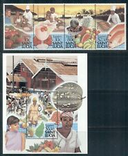 ST. LUCIA 921-22 SG988a,MS992 MNH 1988 Tourism (2nd series) strip of 4+MS Cat$13