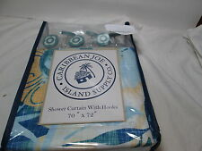 Caribbean Joe Island Supply TIKI FLORAL Shower Curtain & Hooks Set ~  Teal Blue