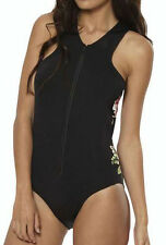 "BRAND NEW + TAG BILLABONG LADIES (12) ""WILD ORCHID"" ONE PIECE SWIMSUIT BLACK"