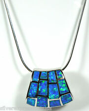 """Blue Fire Opal Inlay Slide Pendant & 925 Sterling Silver 18"""" Chain Necklace"""