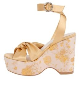 Something Bleu Serena Brocade Gold Romance Satin Platform Sandals Size 8.5 NWOB