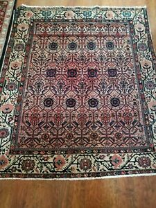 Antique Malayer rug square all over exciting floral 4'x5'